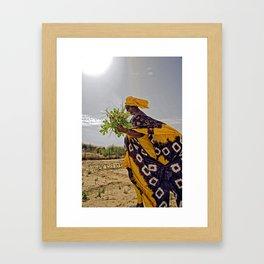 Fatimata in the village garden, Timbuktu Framed Art Print