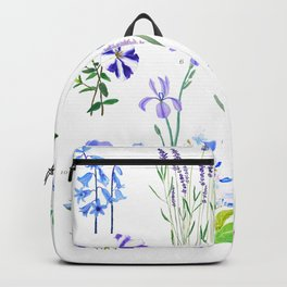 blue and purple flower collection watercolor Backpack