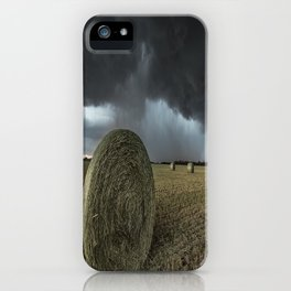 Fade Away - Round Hay Bales in Storm in Oklahoma iPhone Case