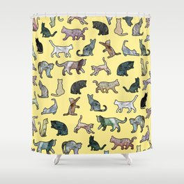 Cats shaped Marble - Sun Yellow Shower Curtain