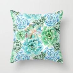 Mint Green Succulents Throw Pillow