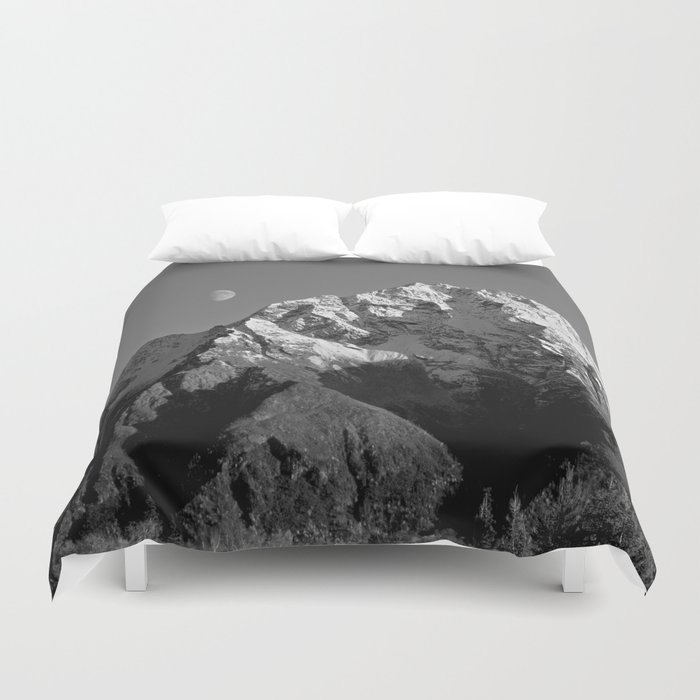 Moon Over Pioneer Peak B&W Duvet Cover