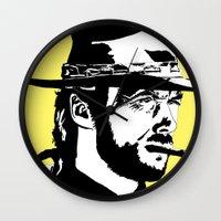 clint barton Wall Clocks featuring Clint by Gary Barling