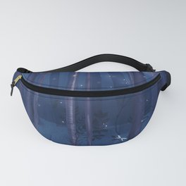 Misty forest with fireflies Fanny Pack
