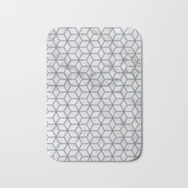 Geometric Hive Mind Pattern - Marble & Navy #381 Bath Mat