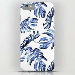 Blue Palm Leaves iPhone Case