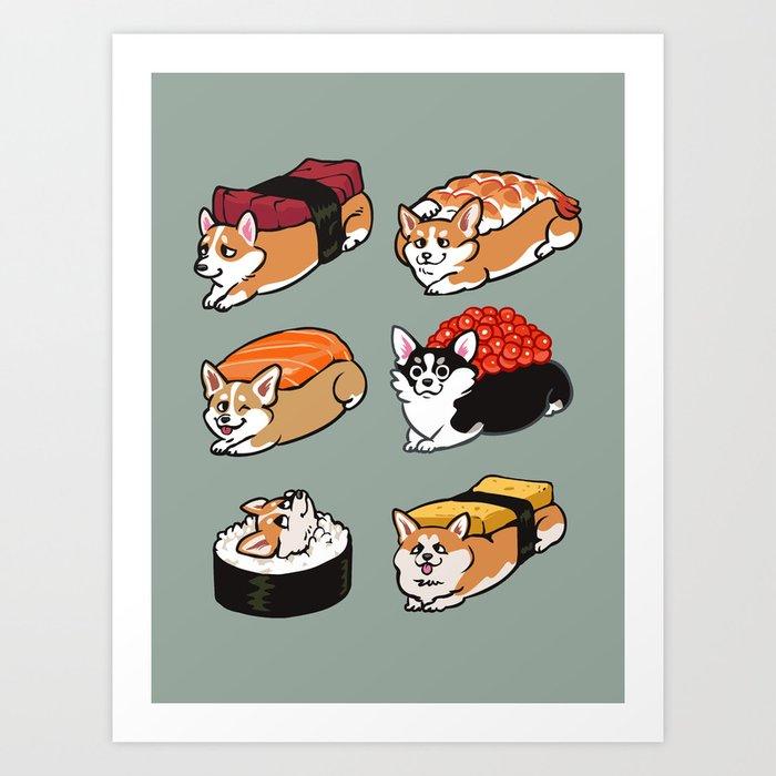 Sushi  Corgi Kunstdrucke