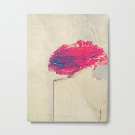 Fleur Rouge Millésime Photographie Picturale Metal Print