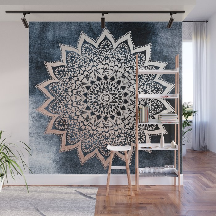 BLUE BOHO NIGHTS MANDALA Wall Mural