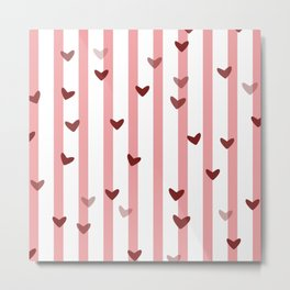 Love concept of hearts on striped background Metal Print
