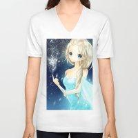 elsa V-neck T-shirts featuring elsa by waffle