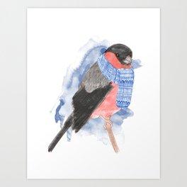 Winter Bullfinch Art Print