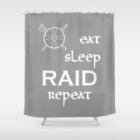 vikings Shower Curtains featuring eat-sleep-RAID-repeat white, Vikings by ZsaMo Design