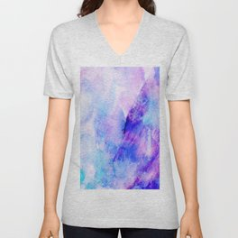Hand painted blush pink teal blue watercolor brushstrokes Unisex V-Neck