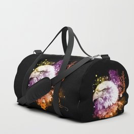 Awesome eagle with flowers Duffle Bag