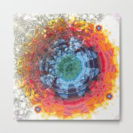 Modern Fractal Abstract 6: Colour Decomposition Metal Print