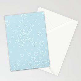 white hears with blue background Stationery Cards