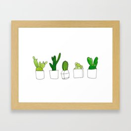 Friendly family of succulents Framed Art Print