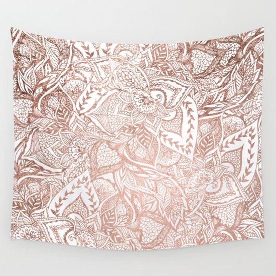 Chic hand drawn rose gold floral mandala pattern Wall Tapestry
