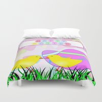easter Duvet Covers featuring Happy Easter by Elena Indolfi
