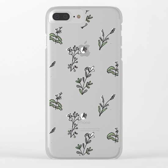 Bright Floral Pattern Clear iPhone Case