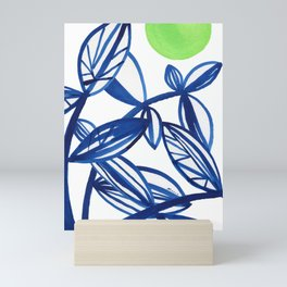Navy blue and lime green abstract leaves Mini Art Print