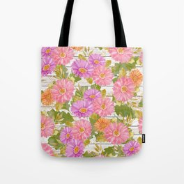 Rustic white wood pink lavender coral watercolor floral Tote Bag