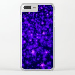 Christmas Blue Purple Night Snowflakes Clear iPhone Case