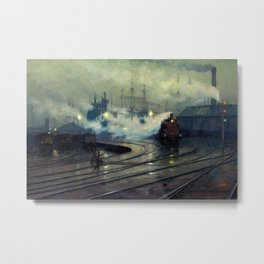 Classical Masterpiece Cardiff Docks by Lionel Walden, circa 1894 Metal Print