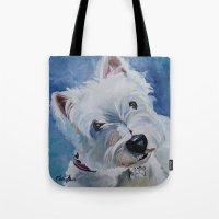 westie Tote Bags featuring Westie Named Tavin by Karren Garces Pet Art