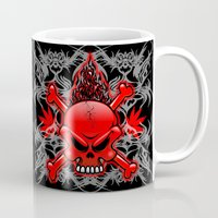 tattoos Mugs featuring Red Fire Skull with Tribal Tattoos by BluedarkArt