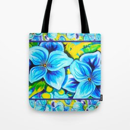 Blue Poppies 3 with Border Tote Bag