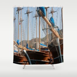 Gulets Lining The Harbour Infront of Marmaris Castle Shower Curtain
