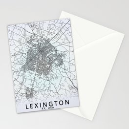 Lexington, KY, USA, White, City, Map Stationery Cards