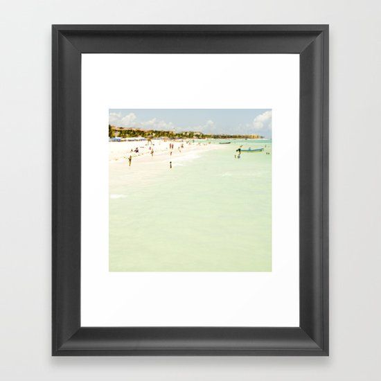 Seaside Swim Framed Art Print