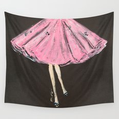 Jolie Pink Fashion Illustration Wall Tapestry