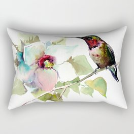 Hummingbird and White Magnolia Rectangular Pillow