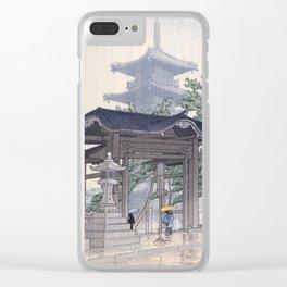 Kawase Hasui Woodblock Print - De Zensetsu tempel in Sanshu Clear iPhone Case