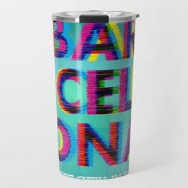 Barcelona Glitch Psychedelic Travel Mug