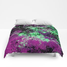 Colour Interaction II - Abstract purple, green and black textured, mixed media art Comforters