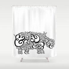 Ampersand Hippo Shower Curtain