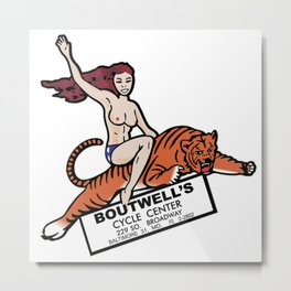 Boutwell's Cycle Center Vintage Motorcycle Logo Metal Print