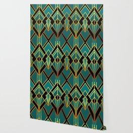 Art Deco Keep On Walking In Turquoise Wallpaper