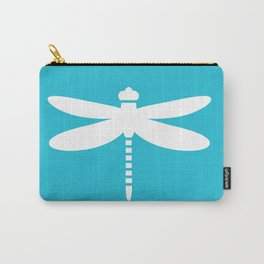 Dragonfly (white on blue) Carry-All Pouch
