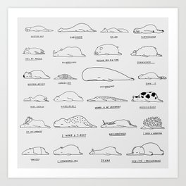 Moody Animals Pattern Art Print
