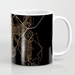Black and gold Busan map Coffee Mug