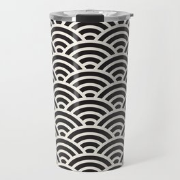 Black & White Geometric Pattern Fish Scales Japanese Style Asian Pattern Travel Mug