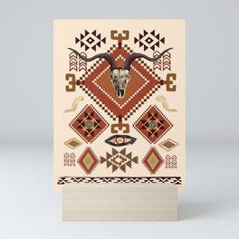Southwest, Tribal, Aztec, Sante Fe, desert skull, warm colors, boho  Mini Art Print