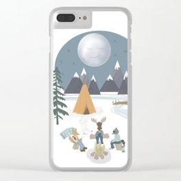 Camp Sleepy Moon (Large Print) Clear iPhone Case