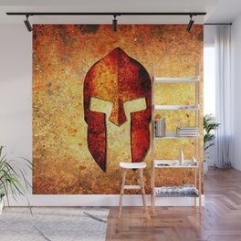 Spartan Helmet On Rust Background - Molon Labe Wall Mural